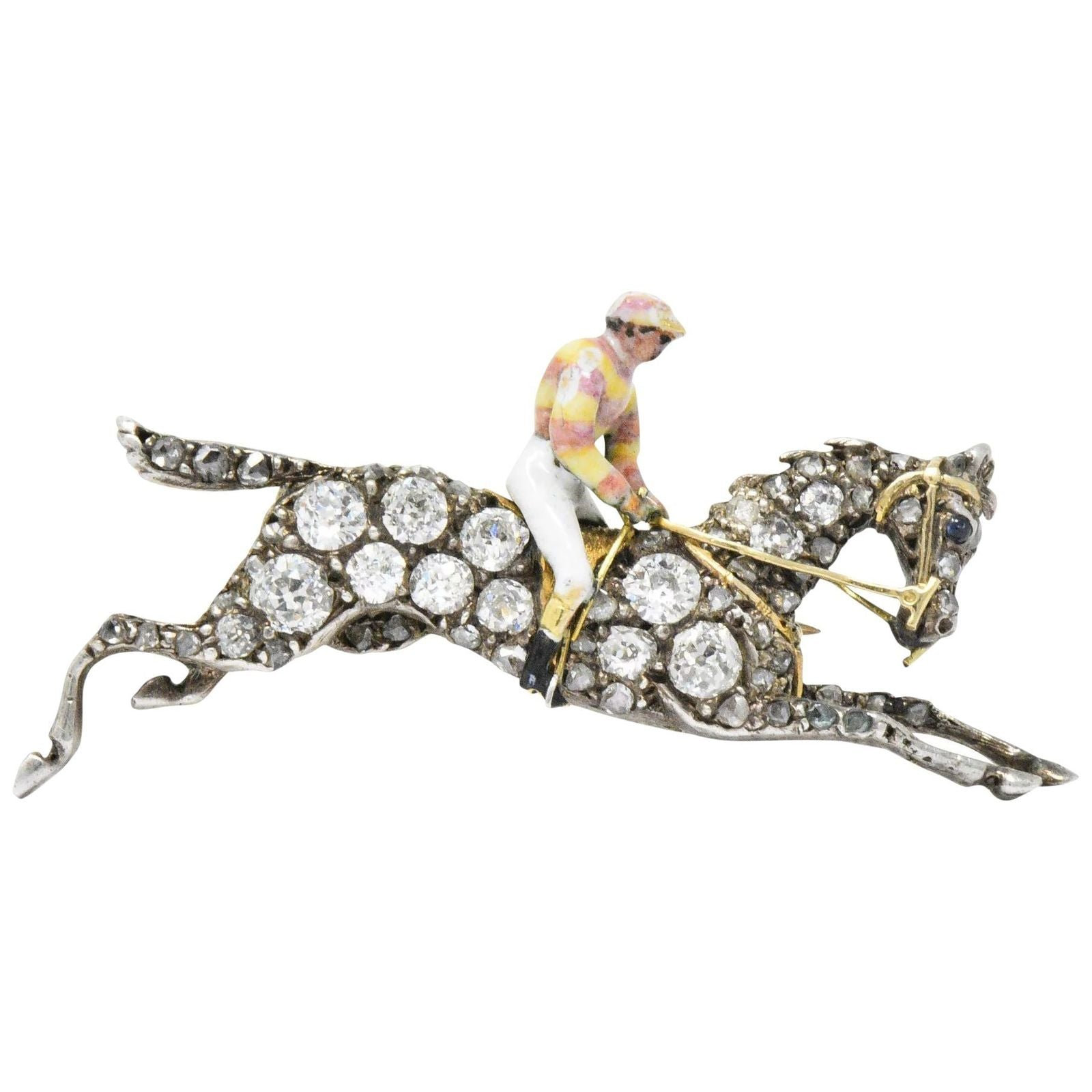 Victorian Pave Diamond Silver-Topped Horse Jockey Antique Brooch