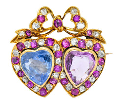 Victorian 8.30 CTW Sapphire Ruby Diamond Two-Tone Gold Double Heart Brooch
