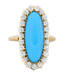 Victorian Tiffany & Co. 2.00 CTW Diamond Turquoise 18 Karat Gold Cluster Ring Circa 1880