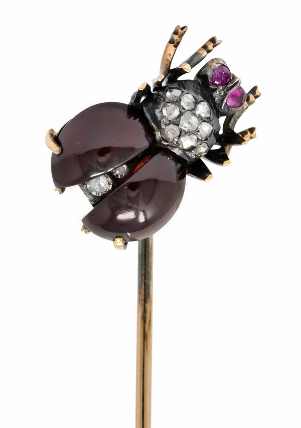 Victorian Garnet Diamond Ruby Silver-Topped 18 Karat Gold Fly Insect Stickpin Stick Pin