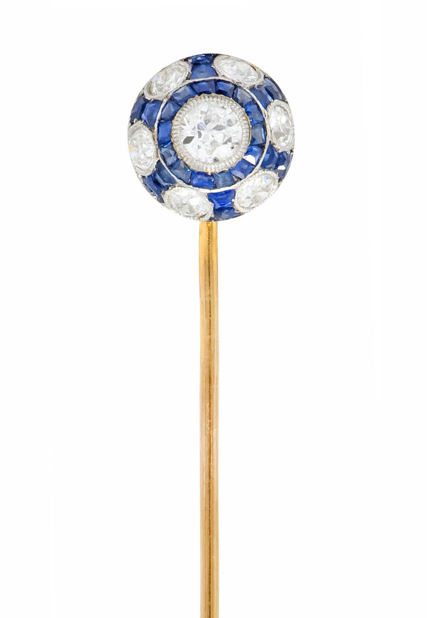 Edwardian Diamond Sapphire Platinum-Topped 18 Karat Gold Stickpin Stick Pin