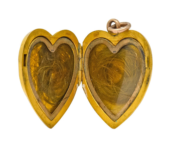 1900 Victorian 14 Karat Gold Angel Heart Locket Pendant Necklace