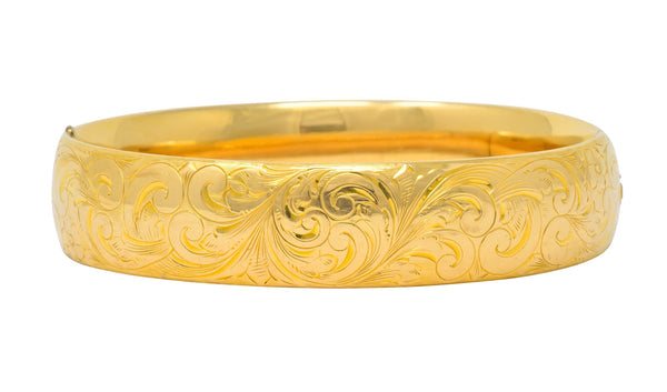 1900 Victorian 14 Karat Yellow Gold Floral Foliate Bangle Bracelet bracelet