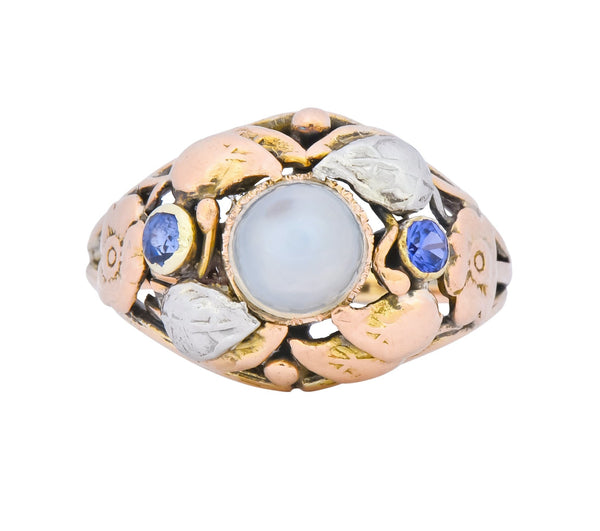 1900s Arts & Crafts Moonstone Sapphire 14 Karat Gold Floral Ring Ring