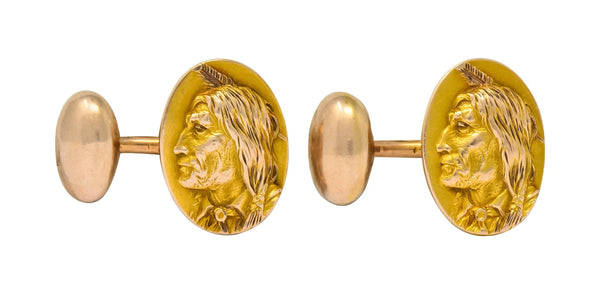 1900s Victorian 14 Karat Two-Tone Gold Native American Mens Cufflinks Cufflinks mens Two-tone Victorian