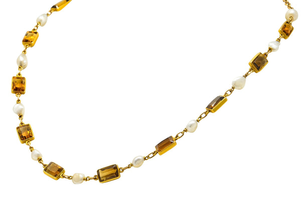 1905 Art Nouveau Citrine Pearl 14 Karat Gold Link Necklace Necklace