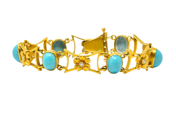 1905 Victorian Turquoise Diamond 14 Karat Yellow Gold Floral Link Bracelet - Wilson's Estate Jewelry