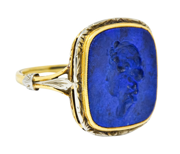 1910 Edwardian Lapis Intaglio Platinum-Topped 14 Karat Gold Signet Ring - Wilson's Estate Jewelry