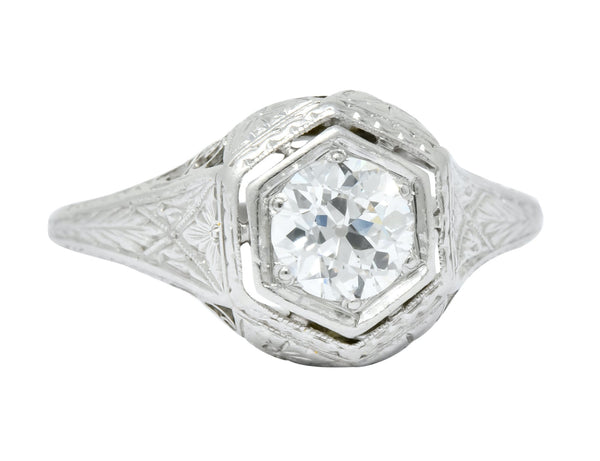 1915 Edwardian .63 CTW Old European Cut Diamond Platinum Engagement Ring Ring