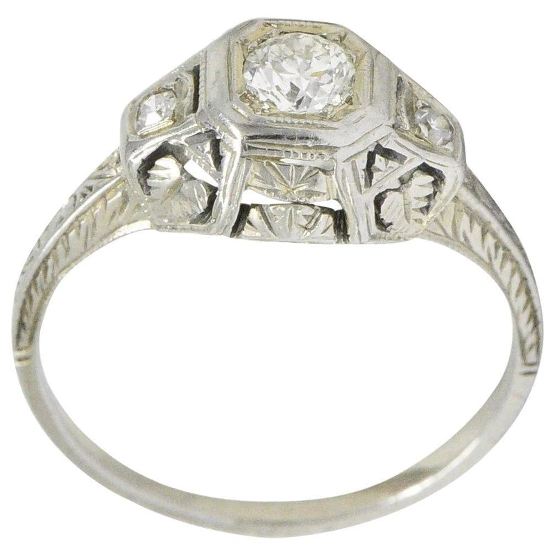 1920's 0.30 CTW Old European Cut Diamond 18 Karat White Gold Engagement Ring - Wilson's Estate Jewelry