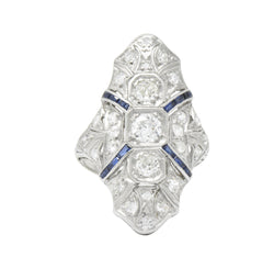 1920's 1.15 CTW Diamond Sapphire Platinum Art Deco Dinner Ring - Wilson's Estate Jewelry