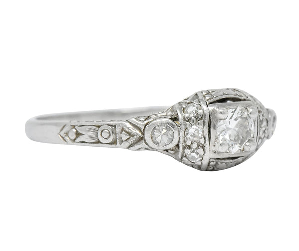 1920s Art Deco 0.30 CTW Diamond Platinum Engagement Ring Ring