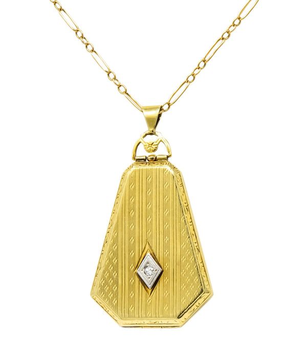 1920s Art Deco Diamond 14 Karat Gold Locket Pendant Necklace Necklace