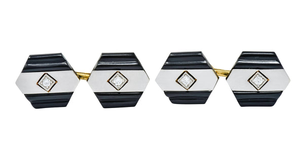 1920s Art Deco Diamond Onyx Platinum 18 Karat Gold Mens Cufflinks Cufflinks Art Deco diamond Edwardian onyx
