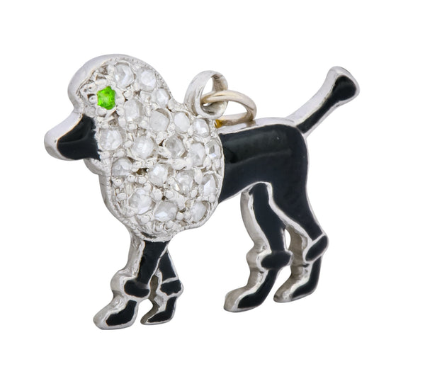 1920s Art Deco Diamond Platinum Black Enamel Poodle Charm charm