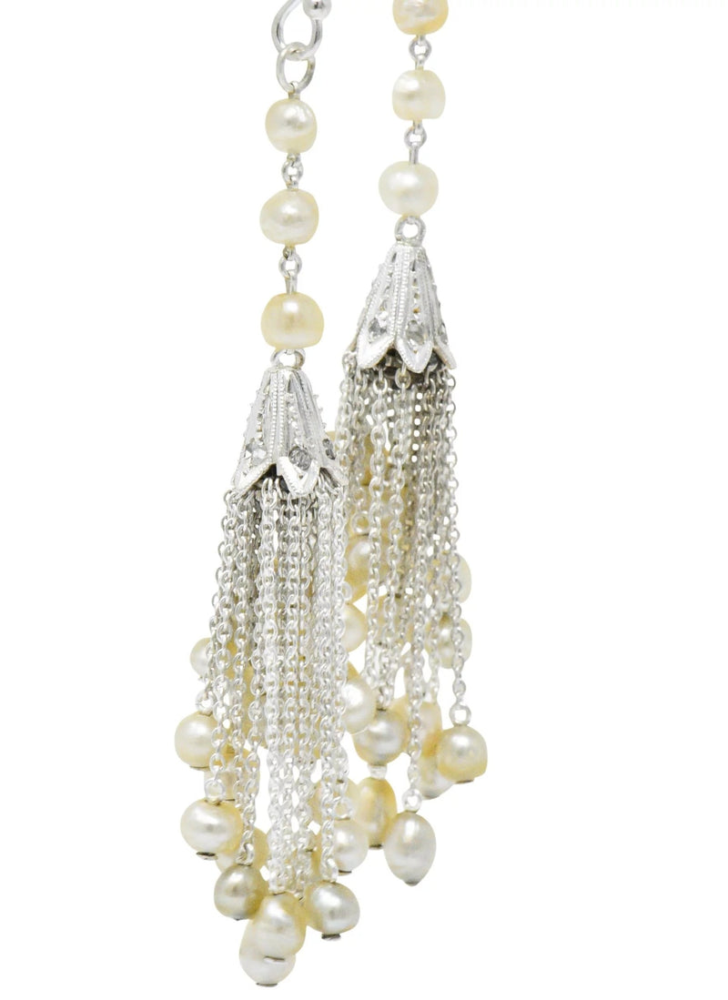 1920s Diamond Seed Pearl Platinum 14 Karat White Gold Tassel Drop Art Deco Earrings Earrings