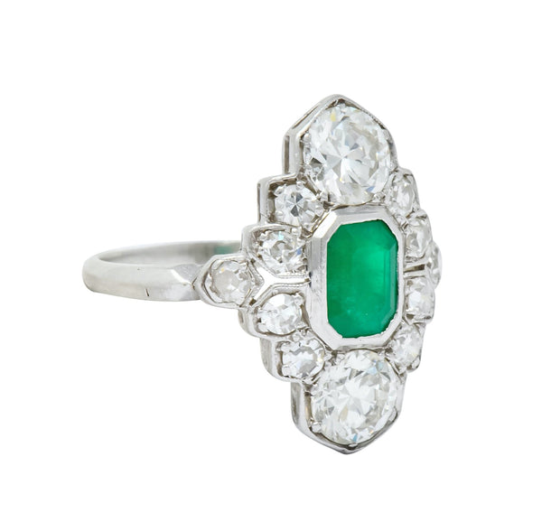 1930 Art Deco 1.80 CTW Emerald Diamond Platinum Dinner Ring Ring