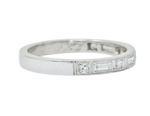 1930 Art Deco Baguette Single Cut Diamond Platinum Anniversary Band Ring Ring
