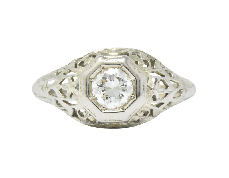 1930s 0.33 CTW Diamond 18 Karat White Gold Art Deco Engagement Ring Ring