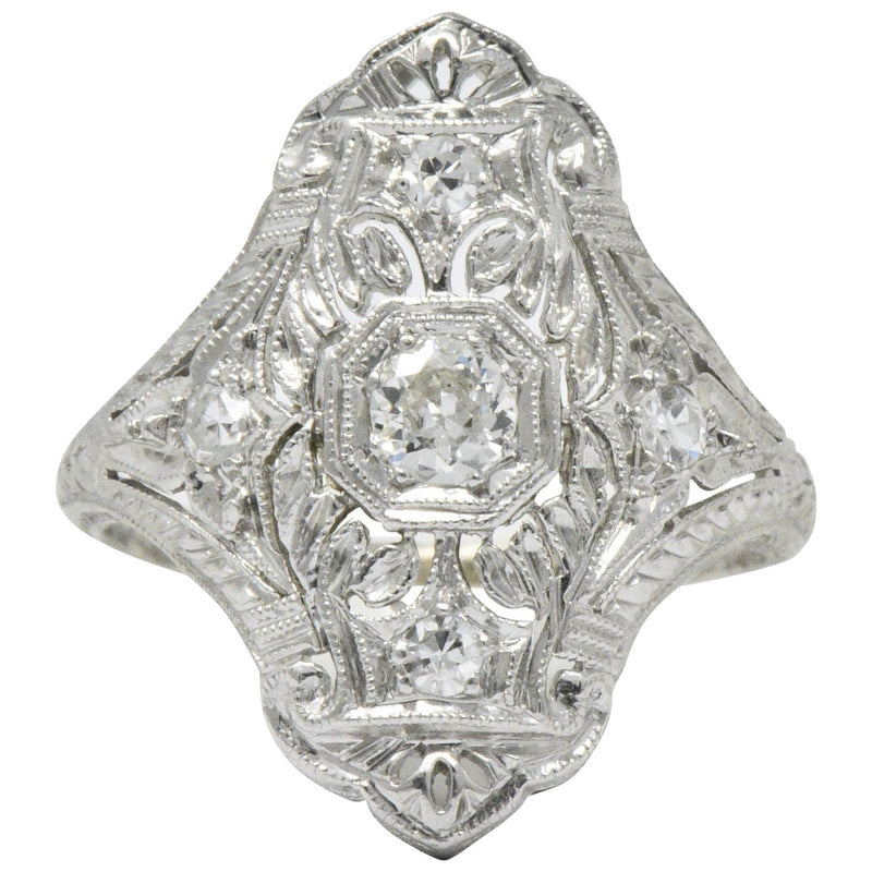 1930s 0.35 CTW Diamond Platinum Art Deco Dinner Ring Ring