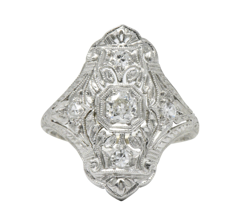 1930's 0.35 CTW Diamond Platinum Art Deco Dinner Ring - Wilson's Estate Jewelry