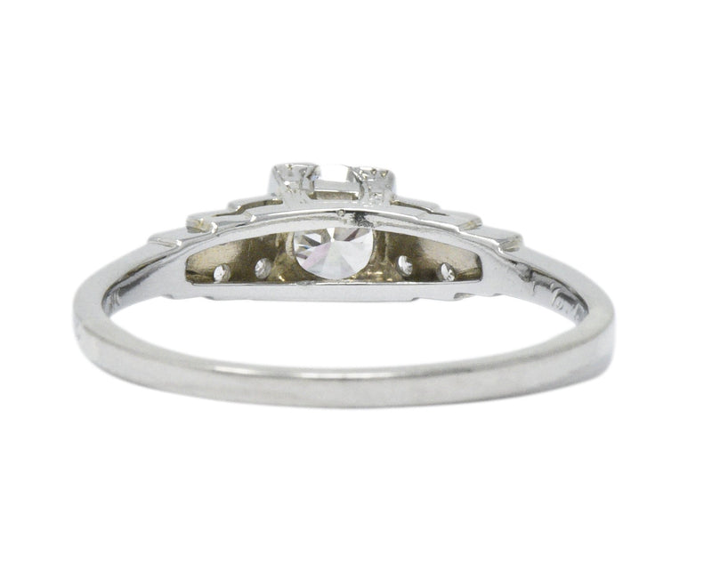 1930s 0.64 CTW Diamond 18 Karat White Gold Engagement Ring Ring
