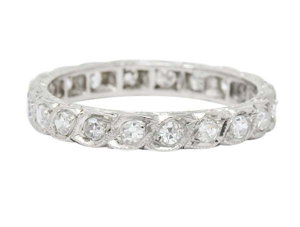 1930s Art Deco 0.40 CTW Diamond Platinum Eternity Band Ring Ring