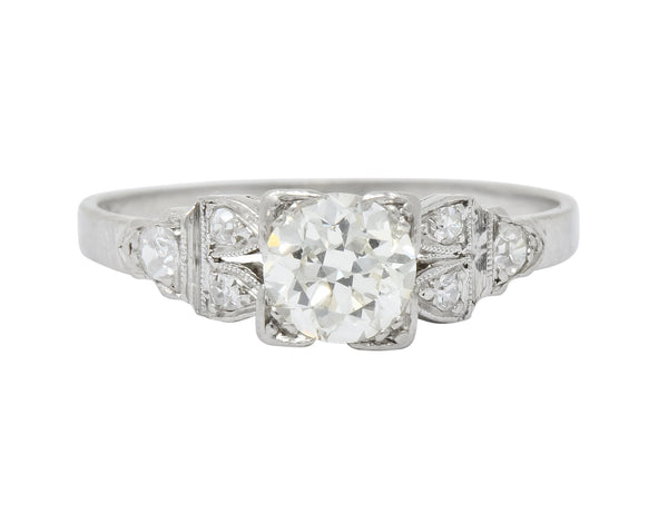 1930s Art Deco 0.73 CTW Diamond Platinum Engagement Ring Ring