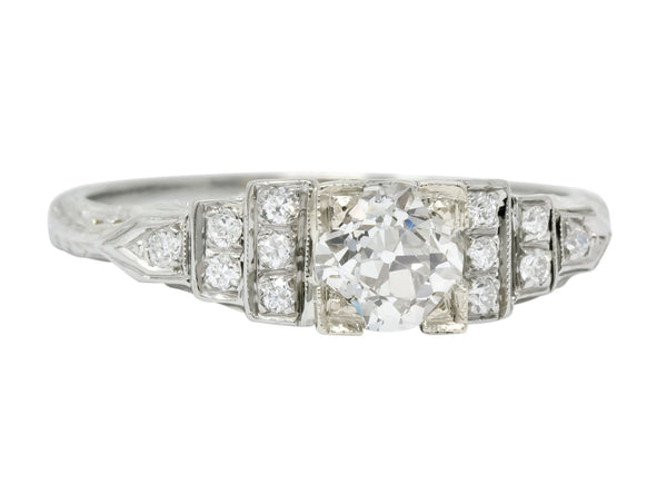 1930s Art Deco 0.81 CTW Diamond 18 Karat White Gold Engagement Ring Ring