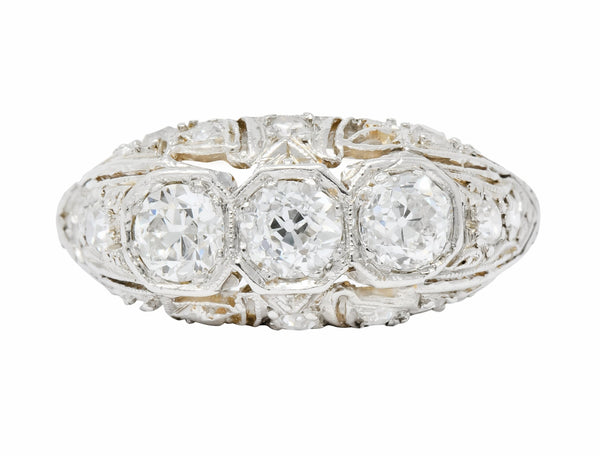 1930s Art Deco 1.16 CTW Diamond Platinum Three Stone Dinner Ring Ring