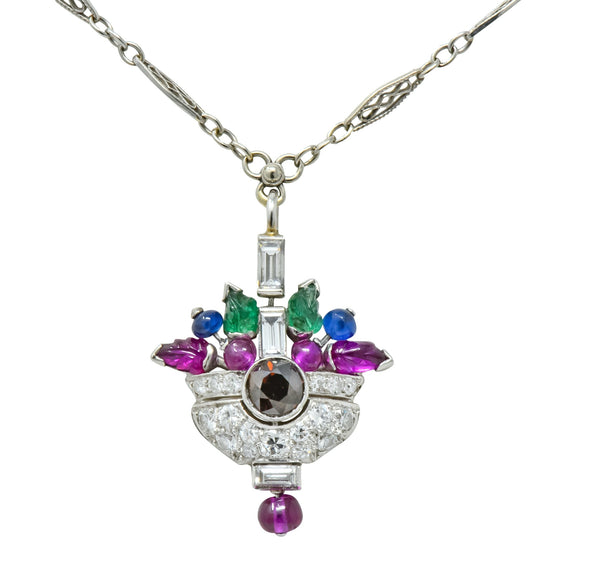 1930s Art Deco 1.20 CTW Diamond Sapphire Emerald Ruby Platinum Tutti Frutti Pendant Necklace Necklace