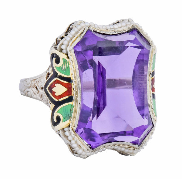 1930s Art Deco Amethyst Enamel Pearl 14 Karat Two-Tone Gold Cocktail Ring Ring