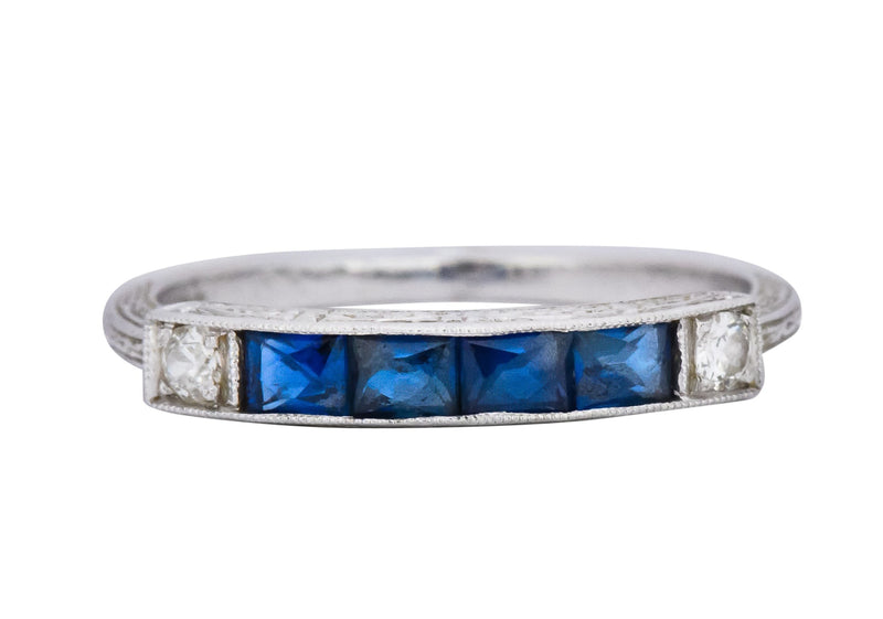 1930's Deco 1.10 CTW Sapphire Diamond Platinum Stackable Wedding Band Ring - Wilson's Estate Jewelry