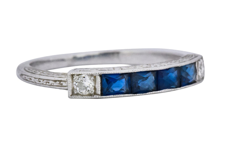 1930s Deco 1.10 CTW Sapphire Diamond Platinum Stackable Wedding Band Ring Ring