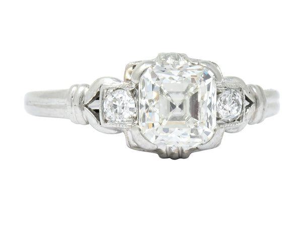 1940 Retro 1.35 CTW Asscher Diamond Platinum Engagement Ring Ring Asscher Diamond Diamond Engagement Retro