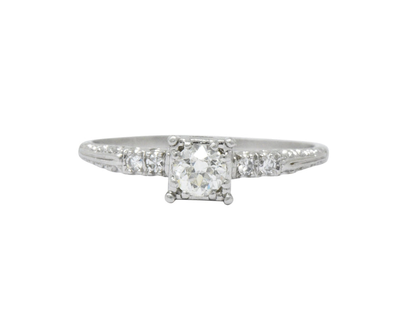 1940s 0.53 CTW Diamond Platinum Engagement Ring Ring
