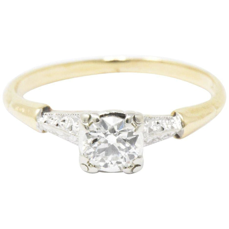 1940s 14 Karat Yellow Gold & Platinum Diamond Engagement Ring Ring