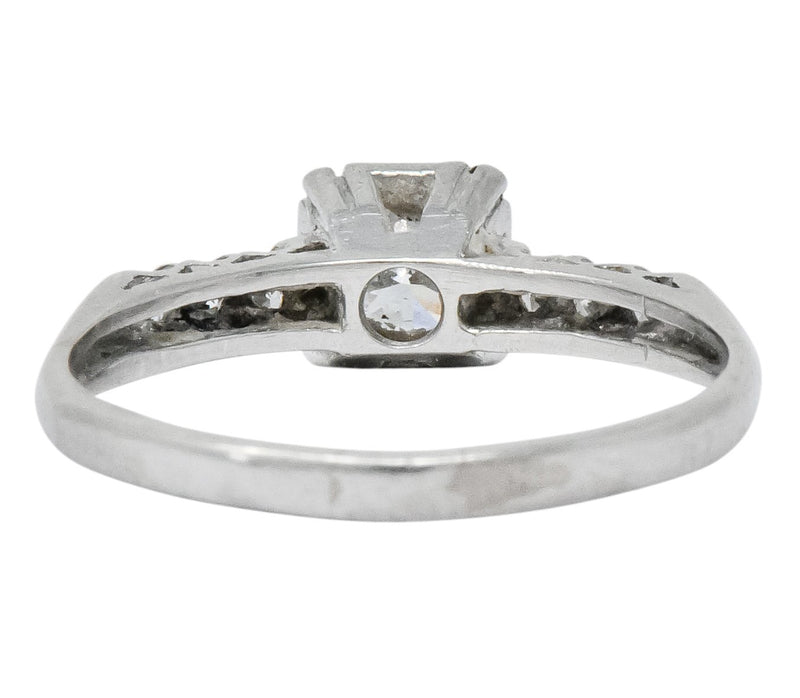 1940s Retro 0.50 CTW Diamond Platinum Engagement Ring Ring