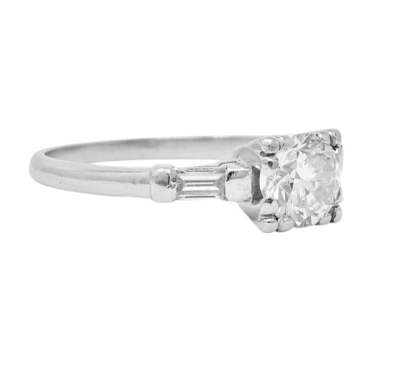 1940s Retro 1.08 CTW Diamond Platinum Engagement Ring Ring