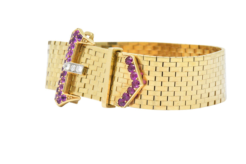 1940's Retro 1.37 CTW Ruby Diamond 14 Karat Gold Jarretière Buckle Link Bracelet - Wilson's Estate Jewelry