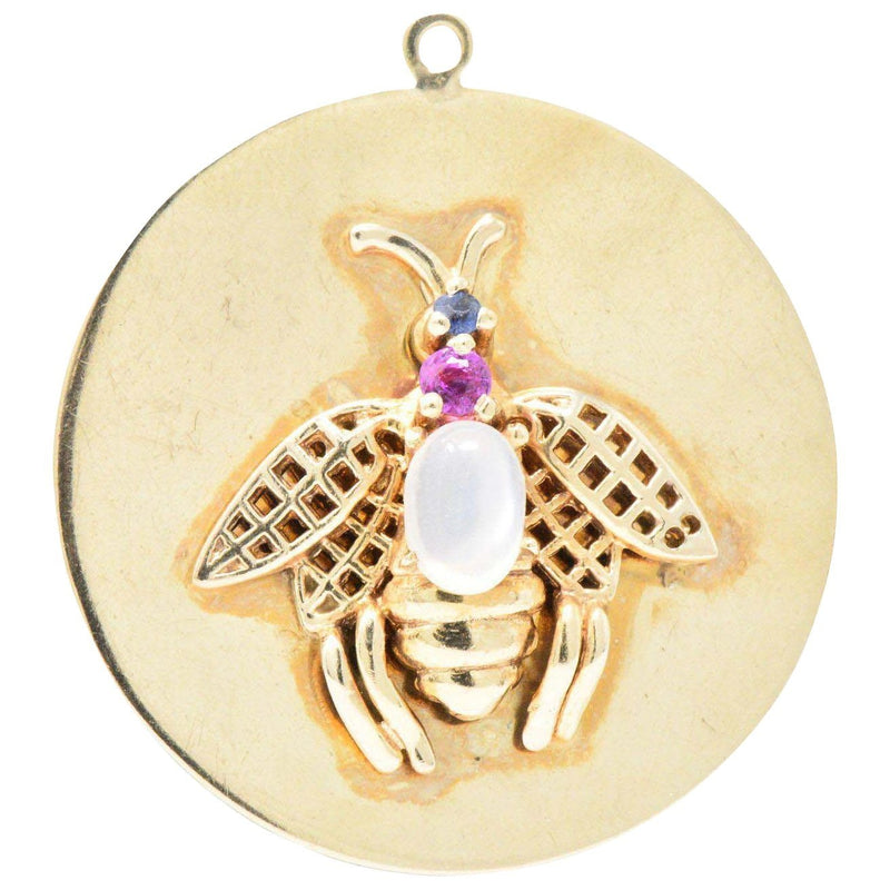 1940's Retro Moonstone Sapphire 14 Karat Gold Bee Charm Pendant - Wilson's Estate Jewelry