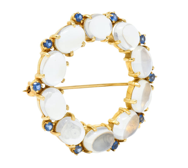 1940s Retro Sapphire Moonstone 14 Karat Gold Circle Pin Brooch Brooch