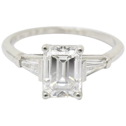 1950s Bailey Banks and Biddle 1.93CTW Emerald Cut Diamond & Platinum Engagement Ring GIA Ring