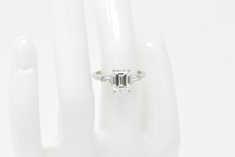 1950's Bailey Banks and Biddle 1.93CTW Emerald Cut Diamond & Platinum Engagement Ring GIA - Wilson's Estate Jewelry