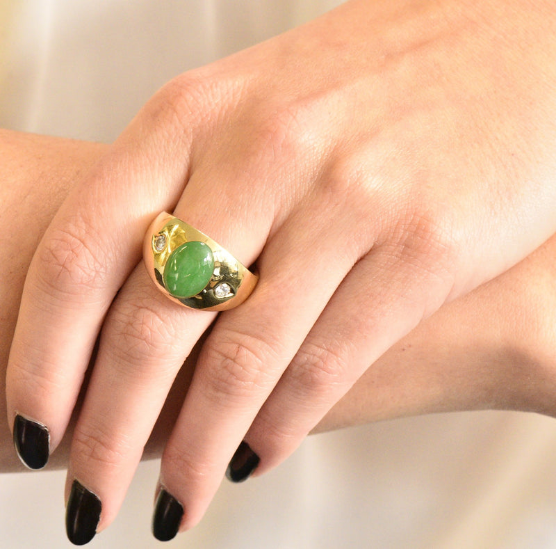1950's Jadeite Jade Cabochon Diamond 18 Karat Gold Unisex Ring GIA - Wilson's Estate Jewelry