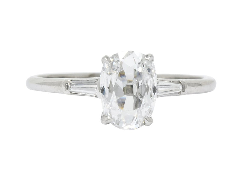 1950's Mid-Century 1.13 CTW Diamond Platinum Engagement Ring GIA - Wilson's Estate Jewelry