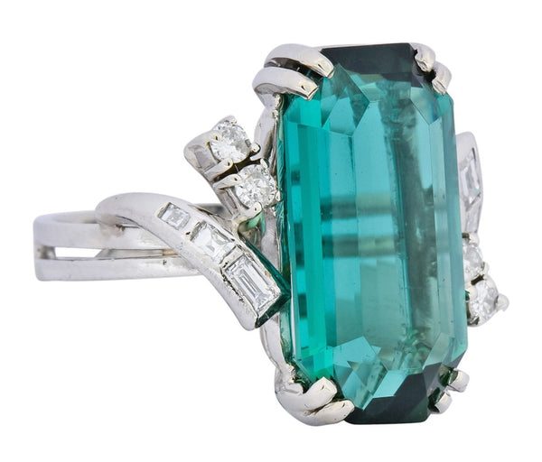 1960s 8.28 CTW Emerald Cut Tourmaline Diamond Platinum Cocktail Ring Ring