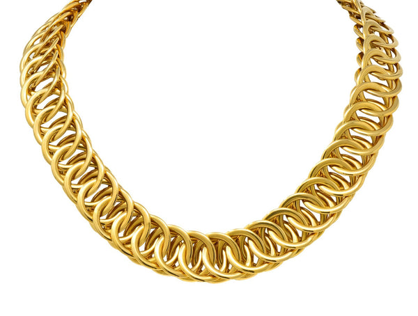 1960s Vintage 14 Karat Yellow Fancy Gold Interlaced Chain Necklace Necklace