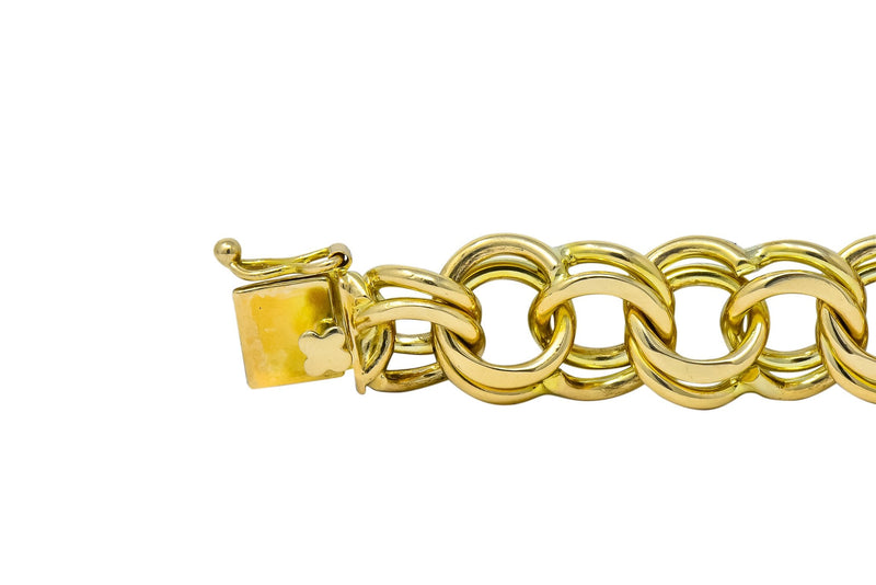 1960's Vintage 14 Karat Yellow Gold Curbed Link Charm Bracelet - Wilson's Estate Jewelry