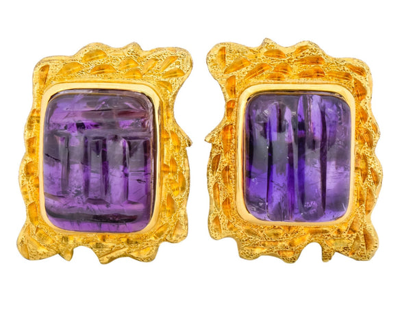 1970s Amethyst 14 Karat Yellow Gold Ear-Clip Earrings Earrings